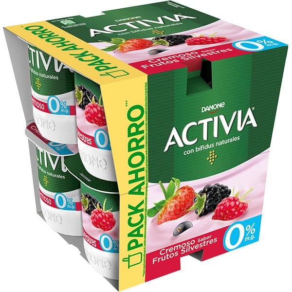 DANONE ACTIVIA bífidus sabor frutos silvestres sin gluten pack 8 unidades 120g