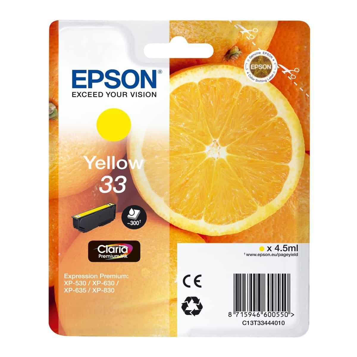 Cartucho original Epson Claria 33 Amarillo