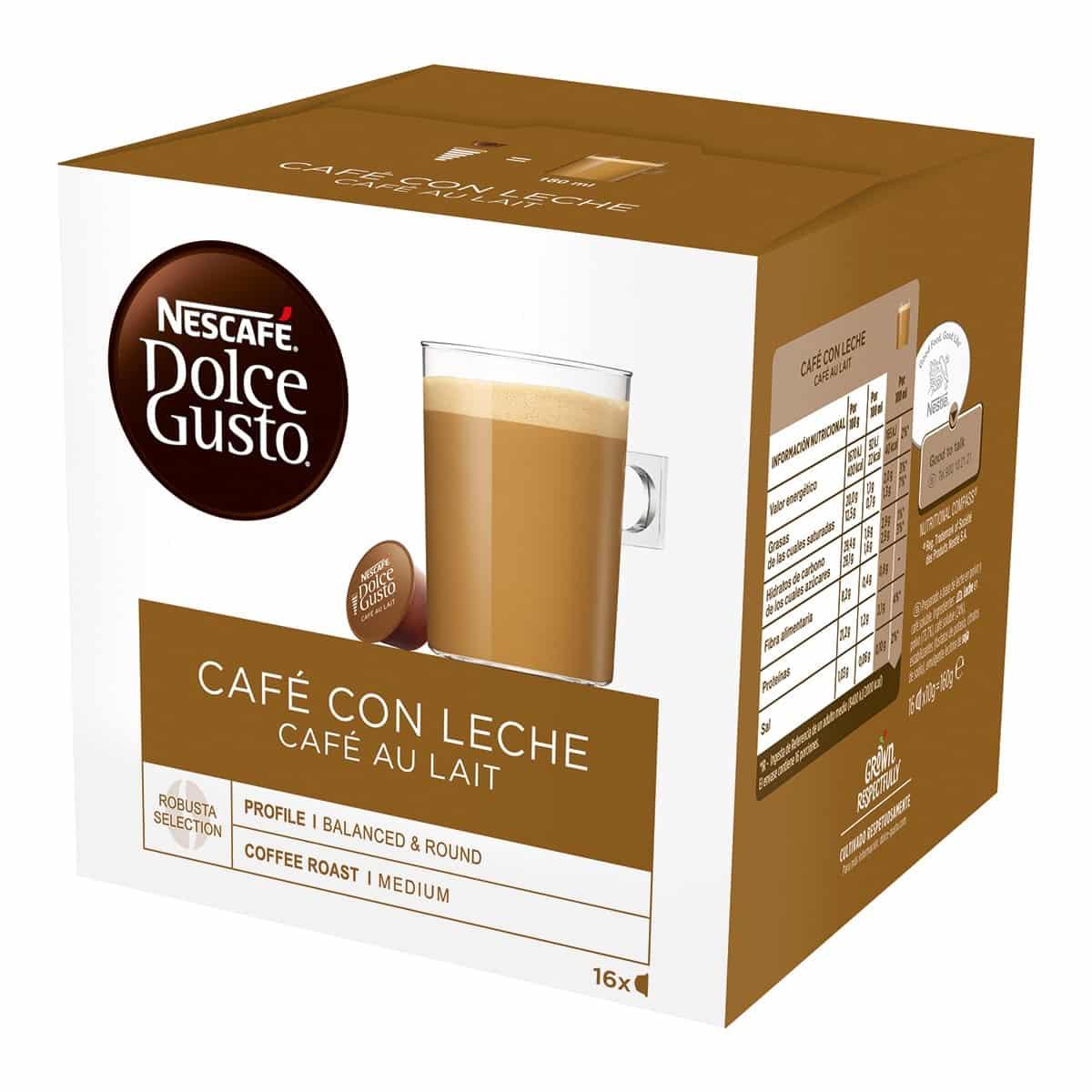 Estuche 16 cápsulas NESCAFE DOLCE GUSTO café con leche Selección robusta